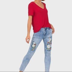 "Amazing designer Joseph Ribkoff distressed, embroidered, pearl jeans 32""waist"